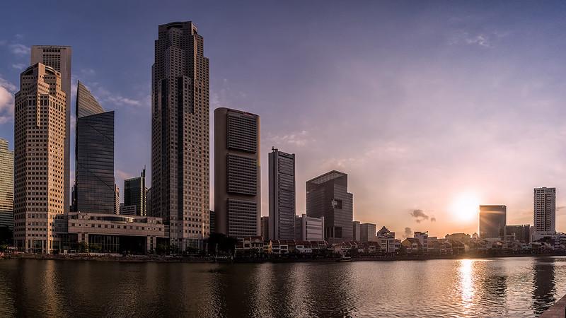 Фото ни о чём. Закат на реке Сингапур.