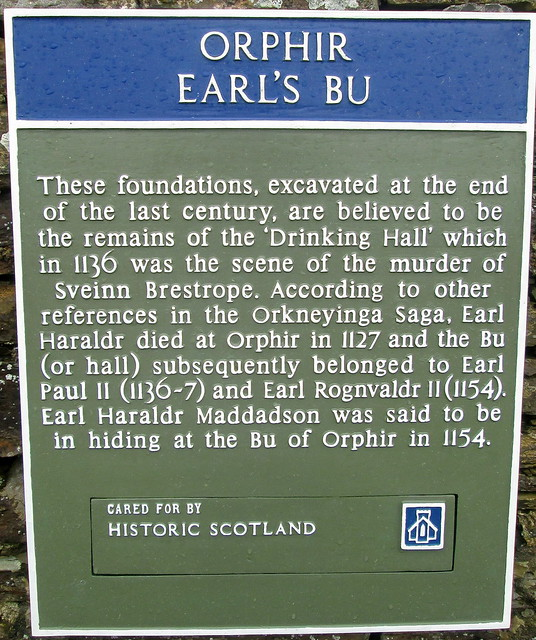 Plaque at Earl's Bu, Orphir, Orkney