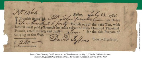 Boston Town Treasury Certificate