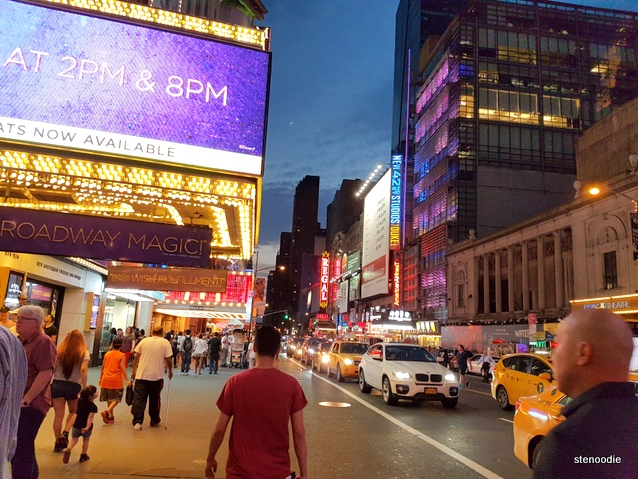 night view of Times Square streets