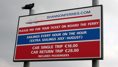 The Shannon ferry sign, Ireland