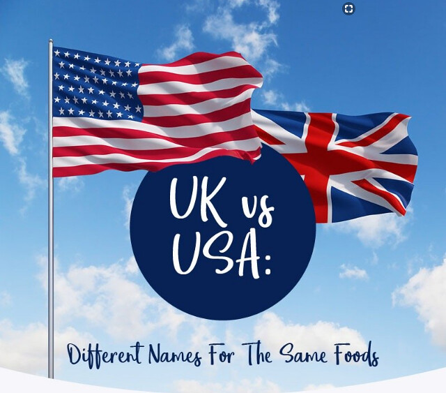 Infographic: UK vs USA Different Names for the Same Foods