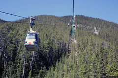 Riding the Sulphur Mountain gondola lift