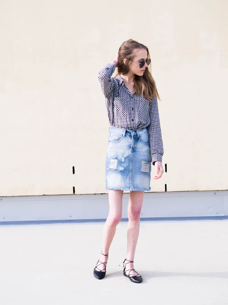 gingham-shirt-and-denim-skirt