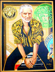 "Gianni Versace (Reggio Calabria 1946-Miami Beach 1997) - portrait (2014) by Ilian Rachov - ""Dialoghi Dissing / Gianni Versace - Magna Grecia Tribute"" exhibition up to September 20, 2017 at Archaeological Museum of Naples"