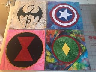 Superheroes: Iron Fist, Captain America, Black Widow, The Vision