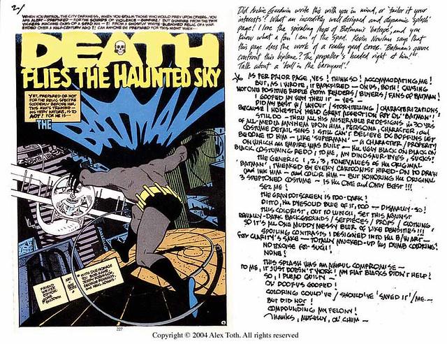 Batman Toth letter on Detective Comics