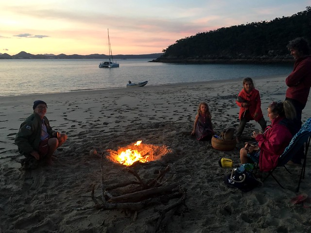 Campfire on the beach with the crew of 'Eagles Wings'.