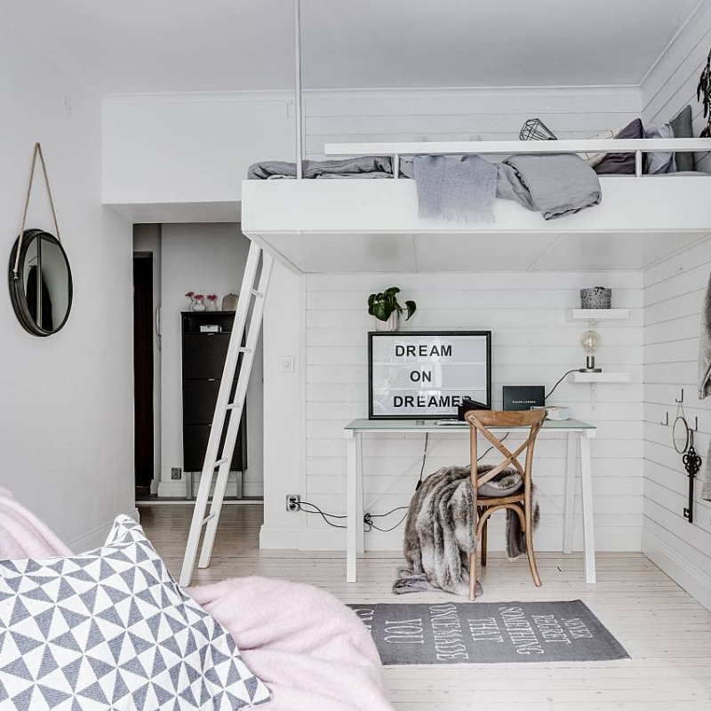 Small Scandinavian Studio Apartment with Feminine Touch
