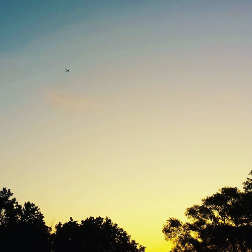 Predawn sky, with plane #sky #clouds #sunrise #airplane