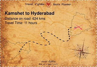 Map from Kamshet to Hyderabad
