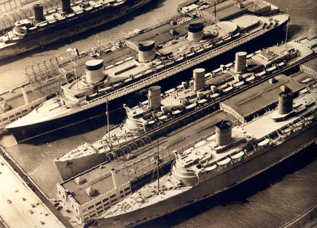 The great ocean liners in New York Harbor, March 23, 1940: Mauretania, Normandie, Queen Mary, and Queen Elizabeth