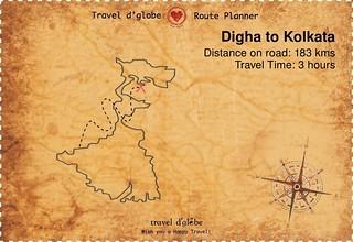 Map from Digha to Kolkata