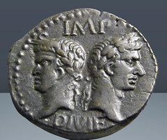 Augustus with Agrippa Crocodile coin obverse