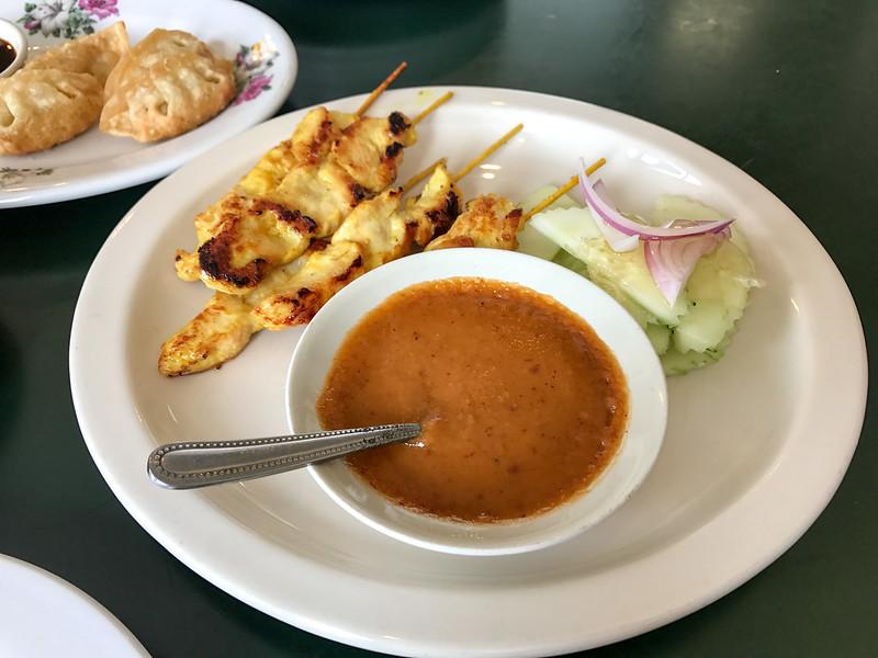 Chicken Satay, Peanut Sauce, Cucumber Salad ($7.95)