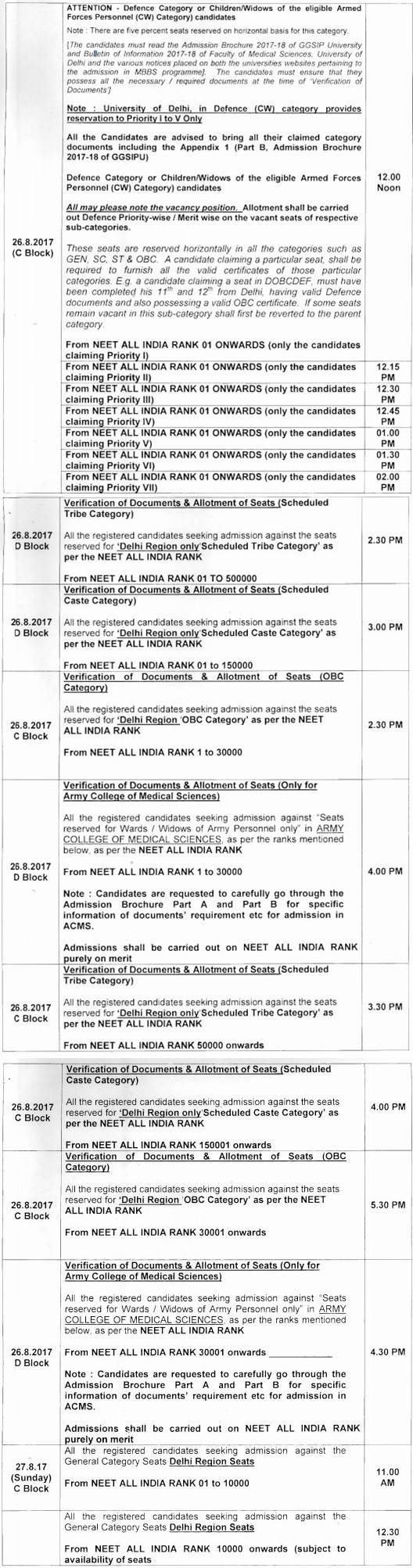 IPU MBBS BDS Counselling Schedule