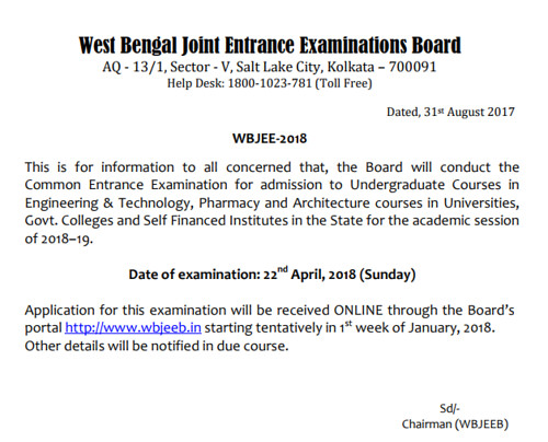 WBJEE 2018 Official Notification