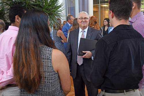 Chancellor Randy Woodson (center) chats with IAA students.