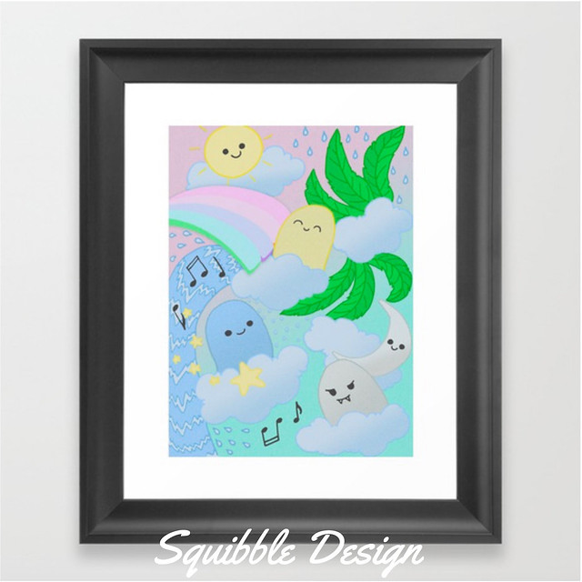 Kawaii_Pastel_Doodle_Monsters_Framed_Art_Print_by_Squibble___Society6