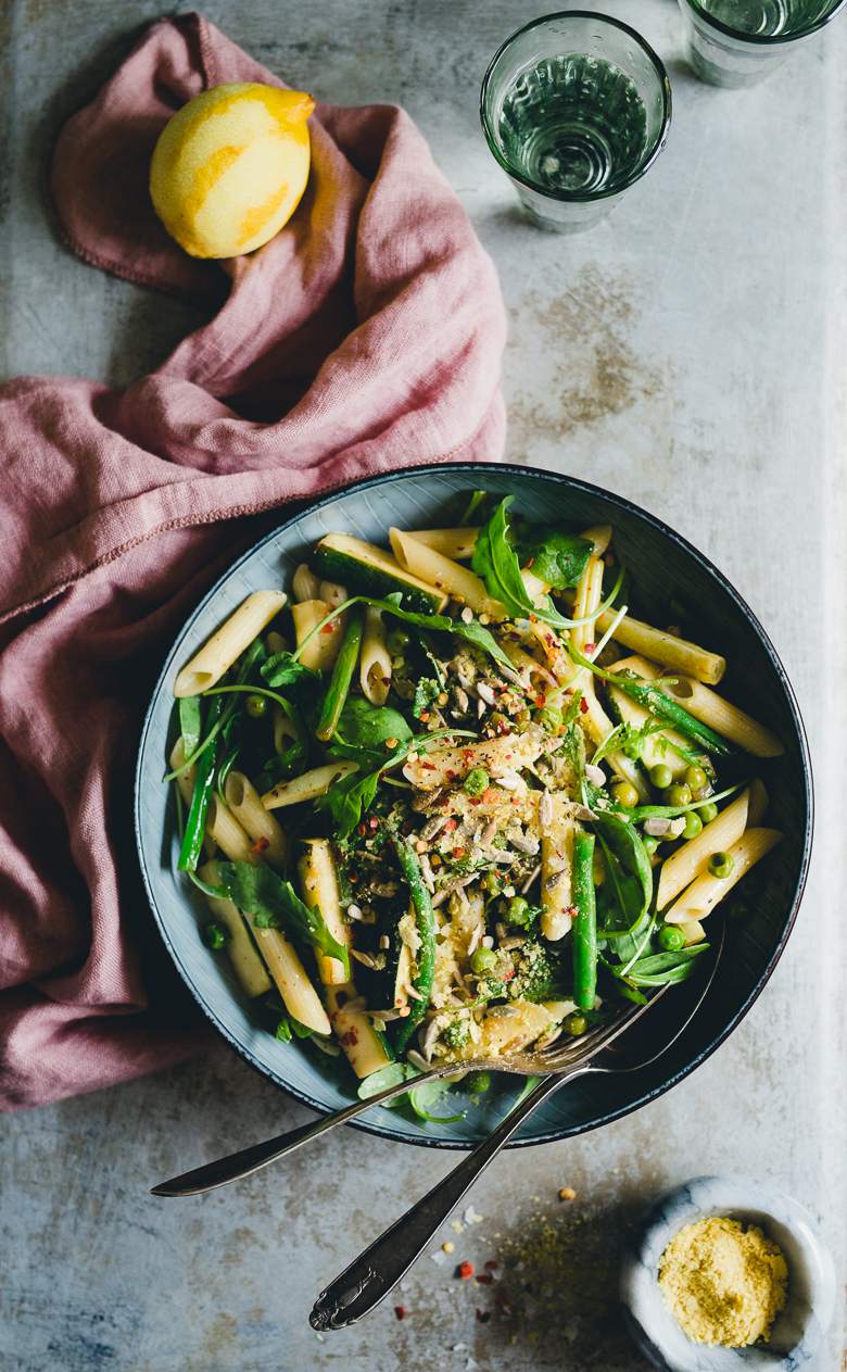 Easy Summer Pasta Bowl with String Beans, Peas & Lemon