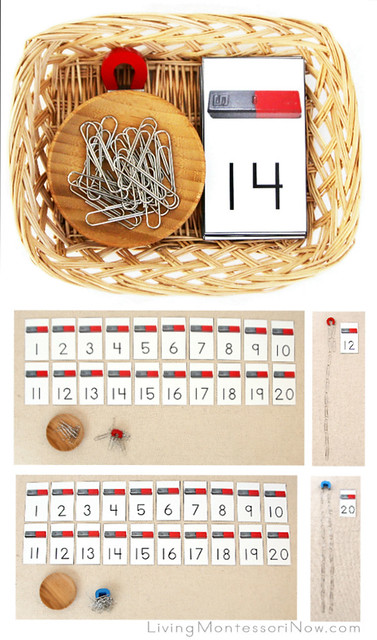 Magnet Number Basket with Magnet, Paper Clips, and Cards 1-20 Plus Layouts