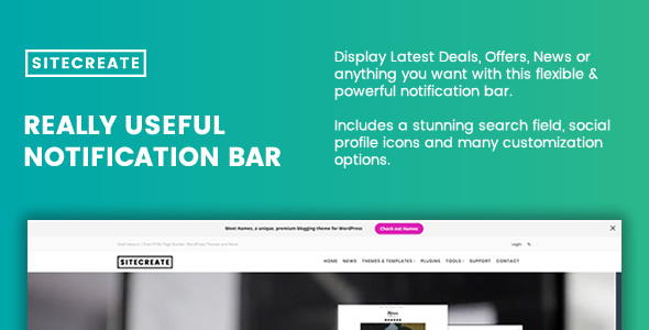 SiteCreate v1.0.1 – Really Useful Notification Bar for WordPress