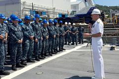 Adm. Scott Swift speaks to crew members aboard USS Fitzgerald (DDG 62) in Yokosuka, Japan, Aug. 24. (U.S. Navy photo)
