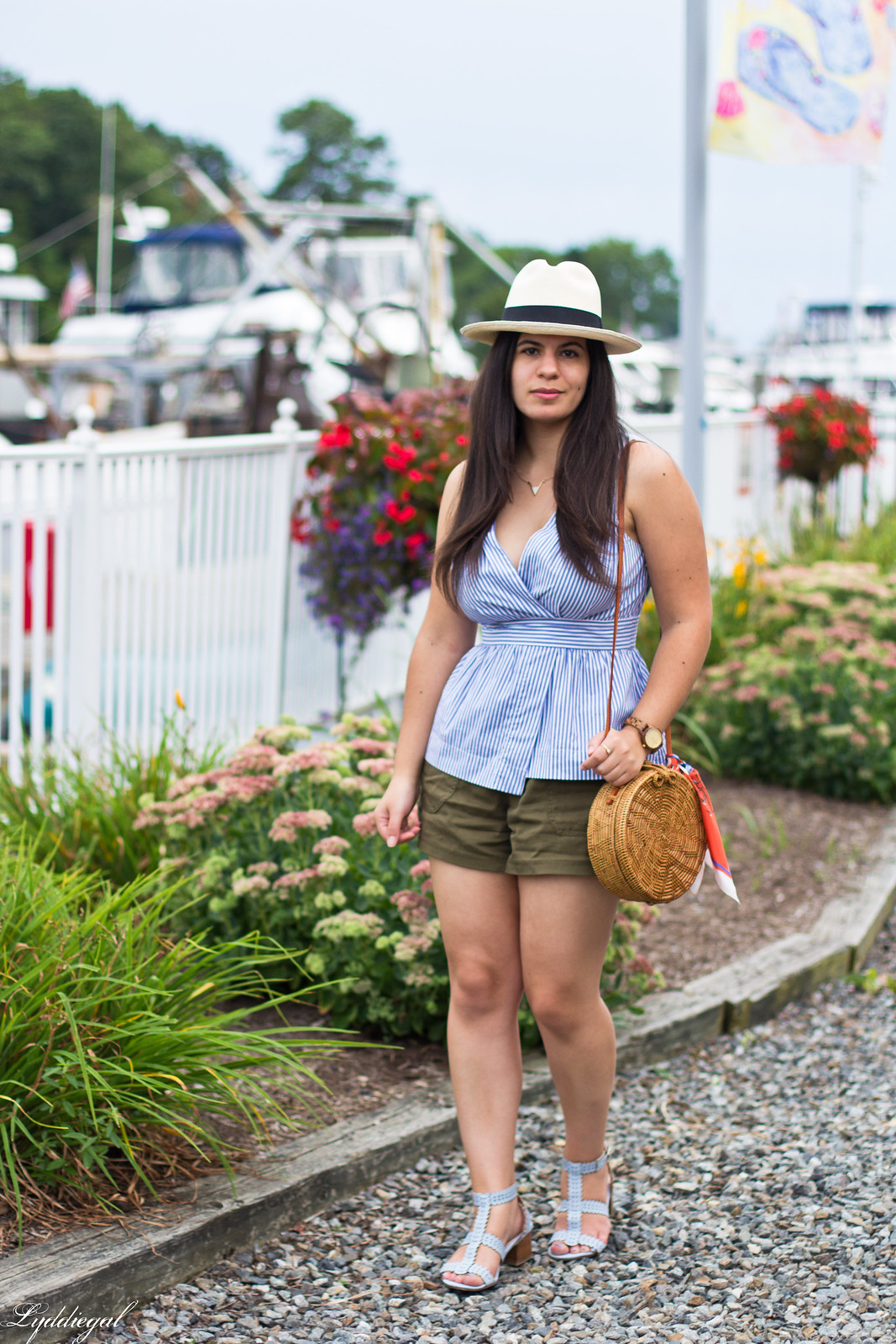 striped peplum top, shorts, panama hat, straw bag-1.jpg