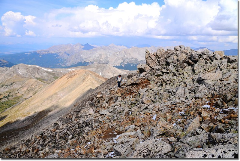 Lo on the summit ridge up Mount Yale, about 14,150 feet