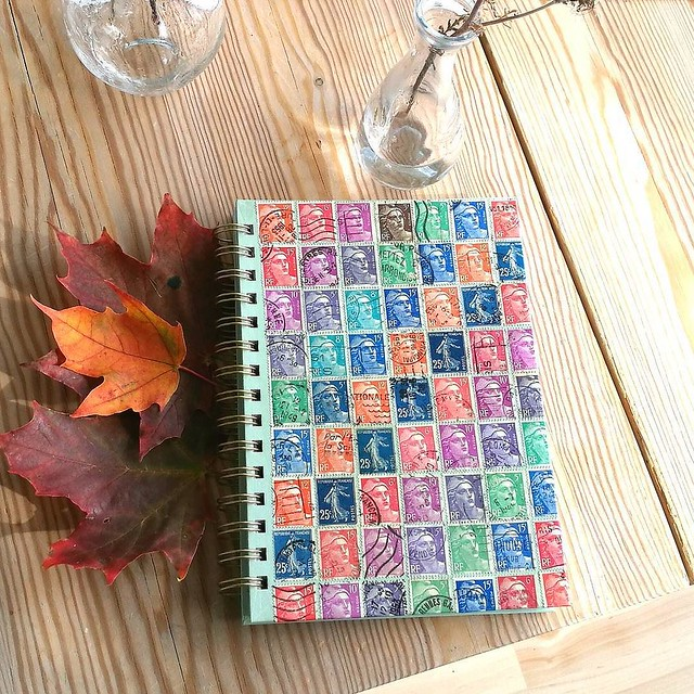 Things to do while on vacay with a limited stash of supplies. Made this journal for my MIL. ________ #postagestamps #upcycle #postage #postzegels #stamps #recycle #upcycle #crafts #craftygirl #craftideas #diary #journal #DIY #makeyourown #snailmailideas #