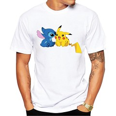 Pikachu with Stitch White Unisex T-shirt