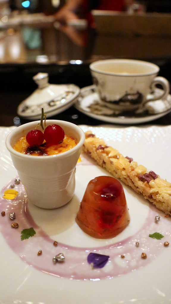 """The Sweet Potato Dessert Trio"" - Hot Sago Pudding, Crunchie Potato Bar, Chilled Osmanthus Jelly"