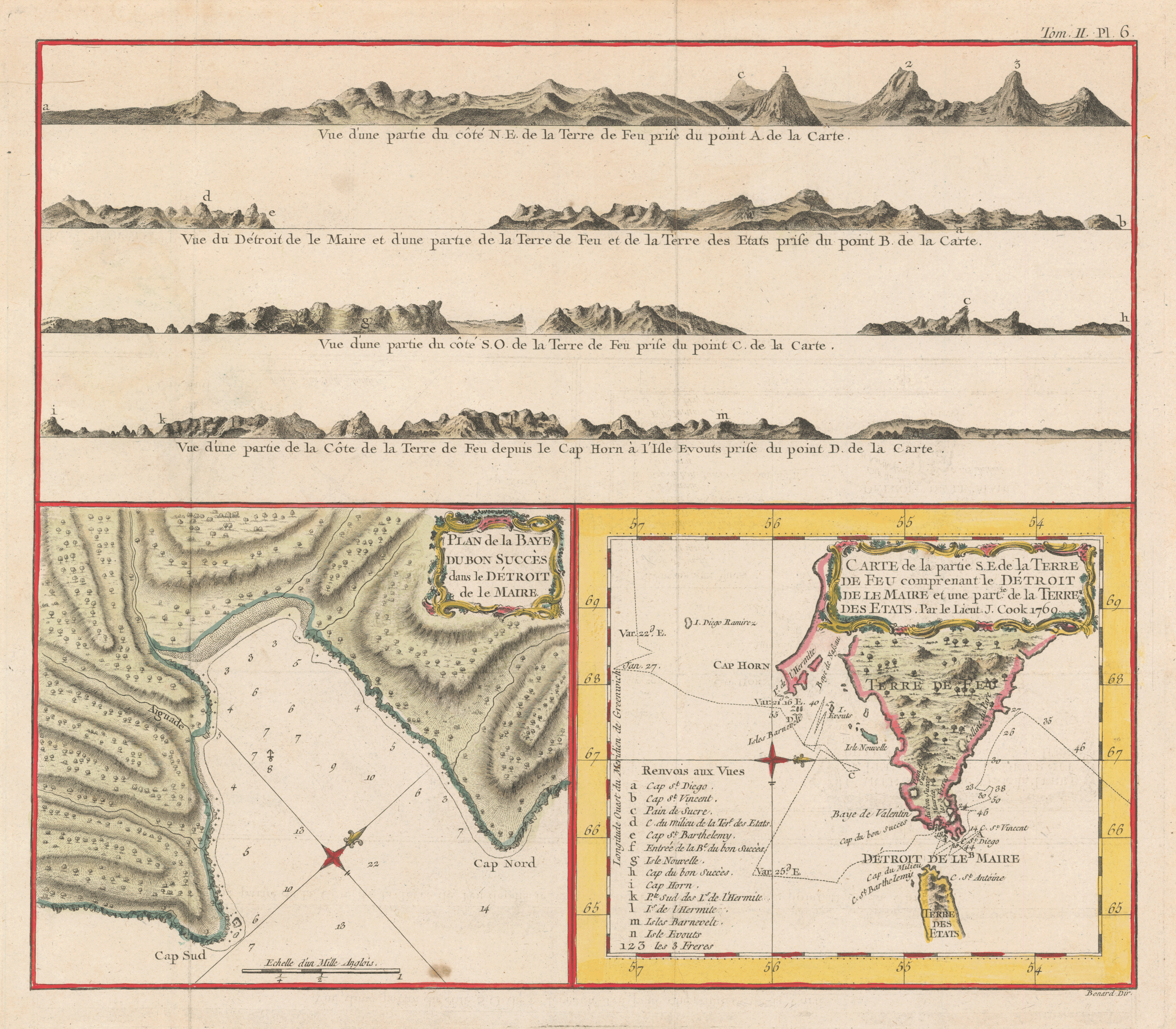 Two copperplate maps, with added color, showing Cook's passage by Cape Horn and the Bay of Success, where Banks's servants died. From the French edition of John Hawkesworth's account of the voyage (Paris, 1774).