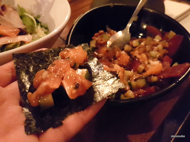 Salmon Natto in my hand