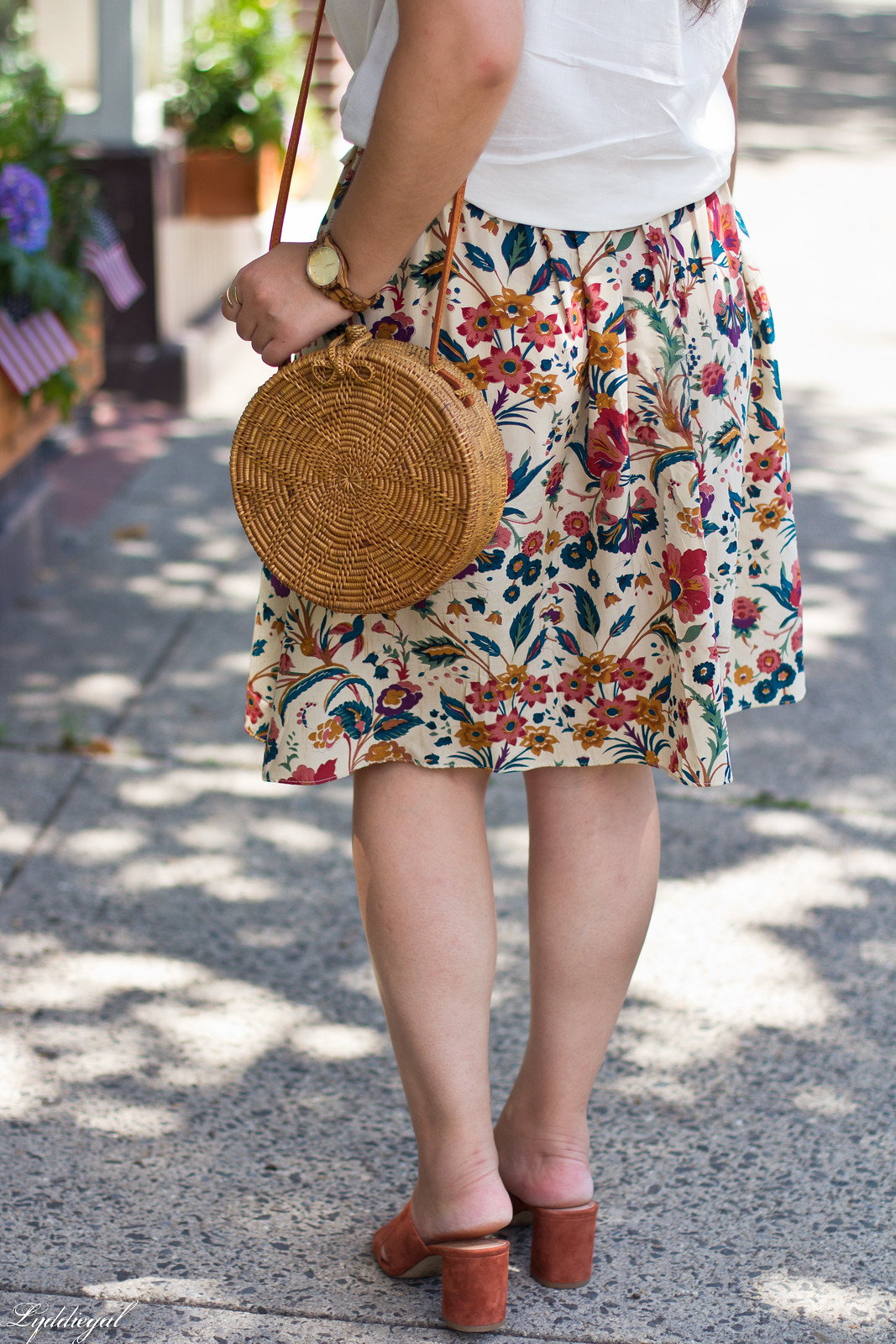 white button down, silk floral skirt, round bag, mules, JORD watch-8.jpg