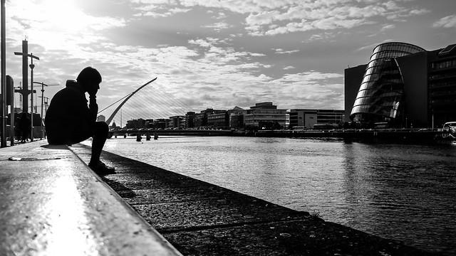 Thinking - Dublin, Ireland - Black and white street photography