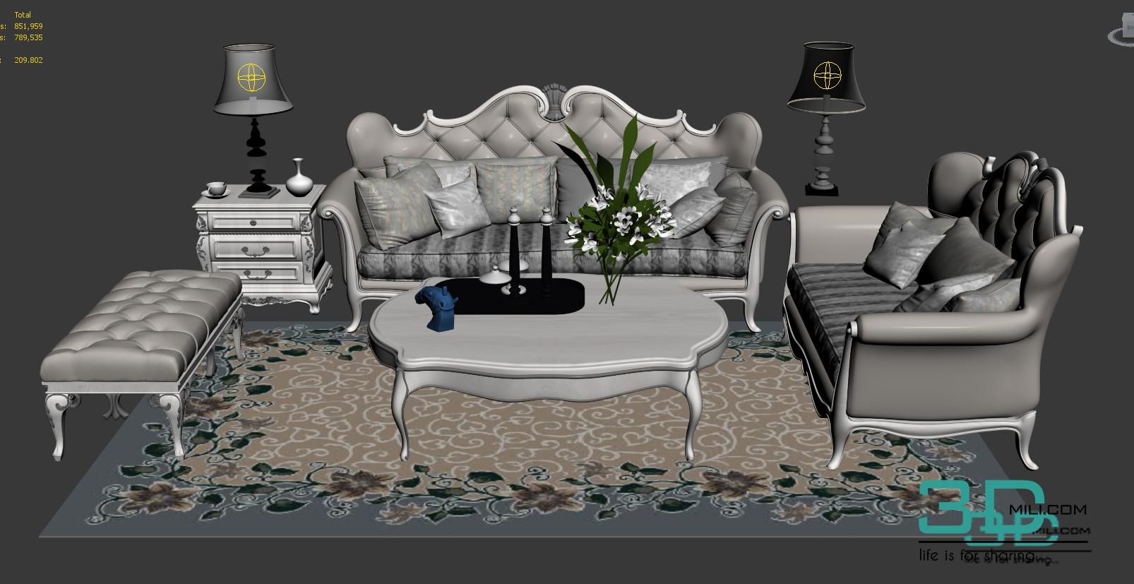 Sofa Classic   3D Mili   Download 3D Model   Free 3D Models   3D Model  Download