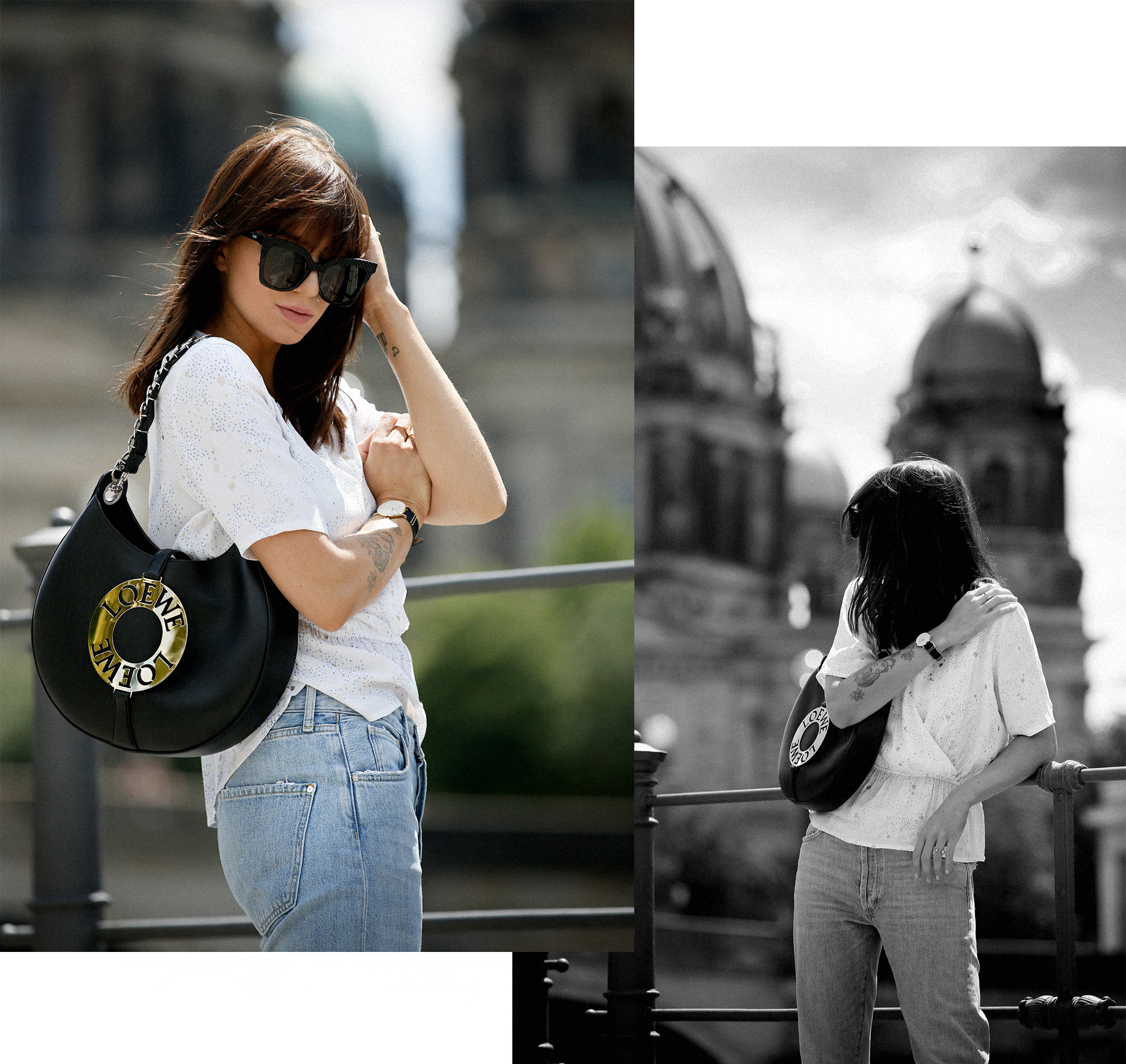 outfit berlin dom museumsinsel denim white blouse parisienne mbym jeanne damas style bangs brunette chic look outfitblogger breuninger loewe joyce bag mcm sunglasses summer german fashion blogger cats & dogs modeblog ricarda schernus max bechmann foto 5