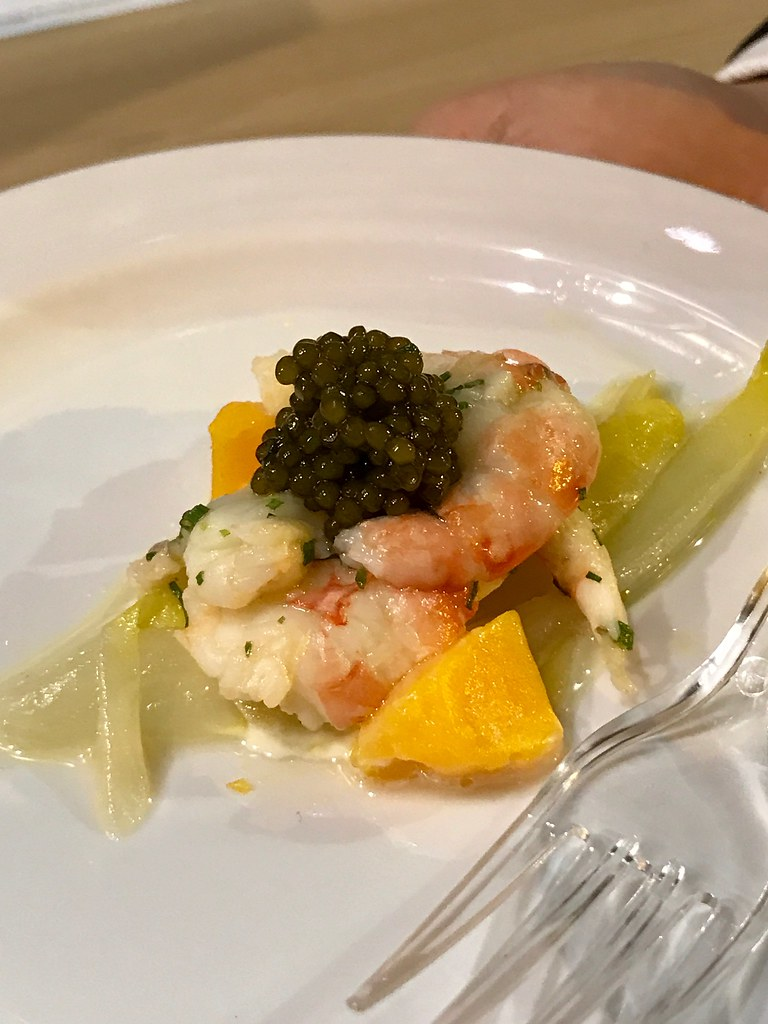 Poached Botan Shrimp with Compote of Egg and Oscietra Caviar
