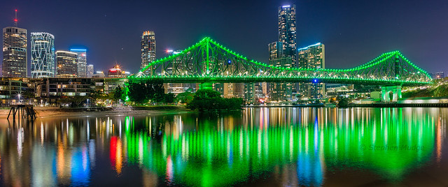 Brisbane's Story Bridge in green