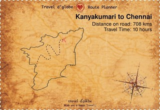 Map from Kanyakumari to Chennai