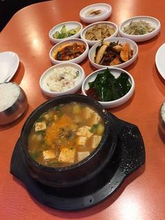 Soybean paste stew (된장 찌개) + banchan (반찬)