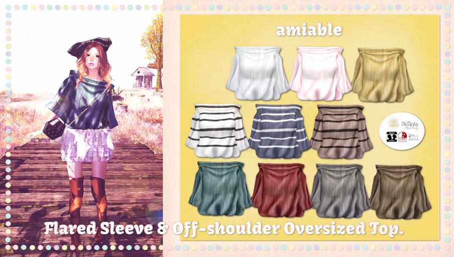 {amiable}Flared Sleeve & Off-shoulder Oversized Top@Whimsical(50%OFF SALE). - SecondLifeHub.com