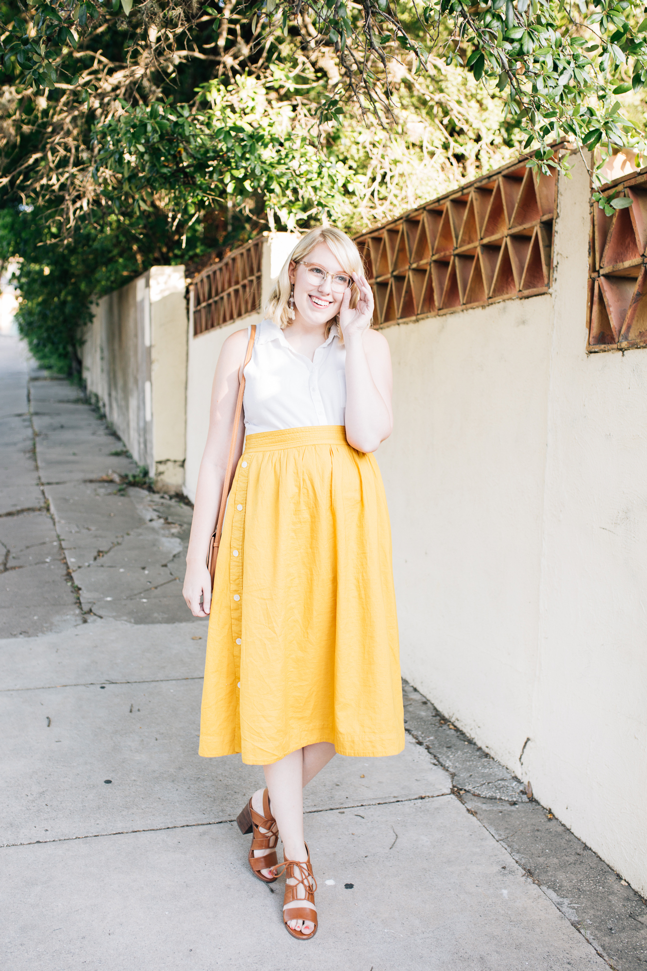 austin fashion blogger writes like a girl madewell yellow midi skirt3