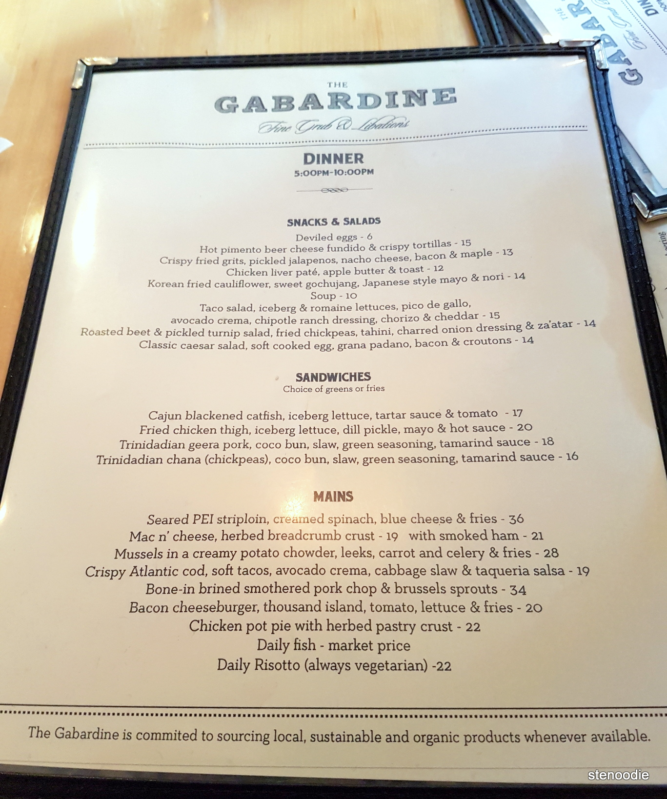 the Gabardine dinner menu and prices
