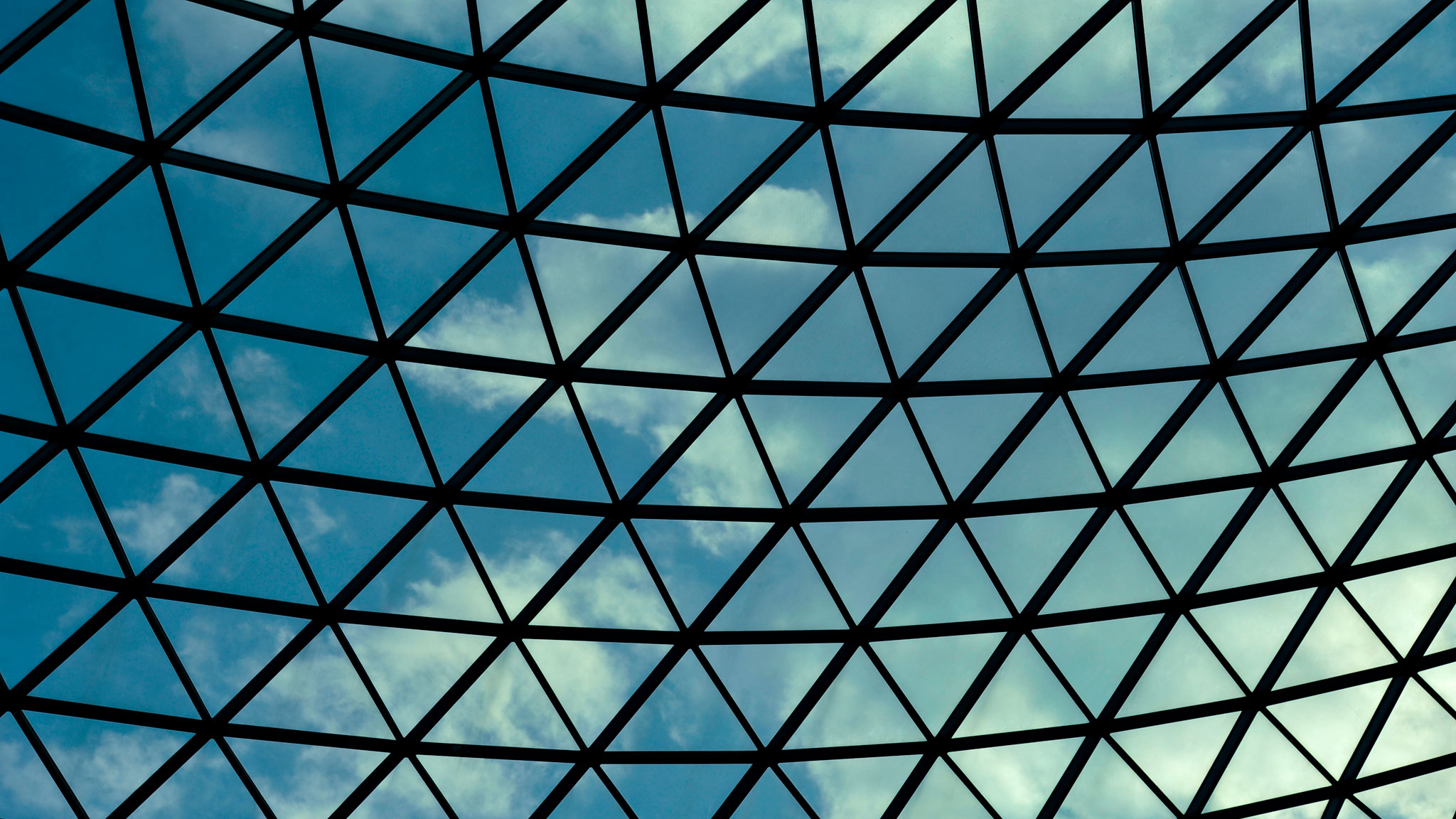 The courtyard at the British Museum showing the geometric glass roof design