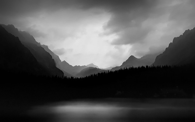 Dark, cloudy lake in the Tatras moutains