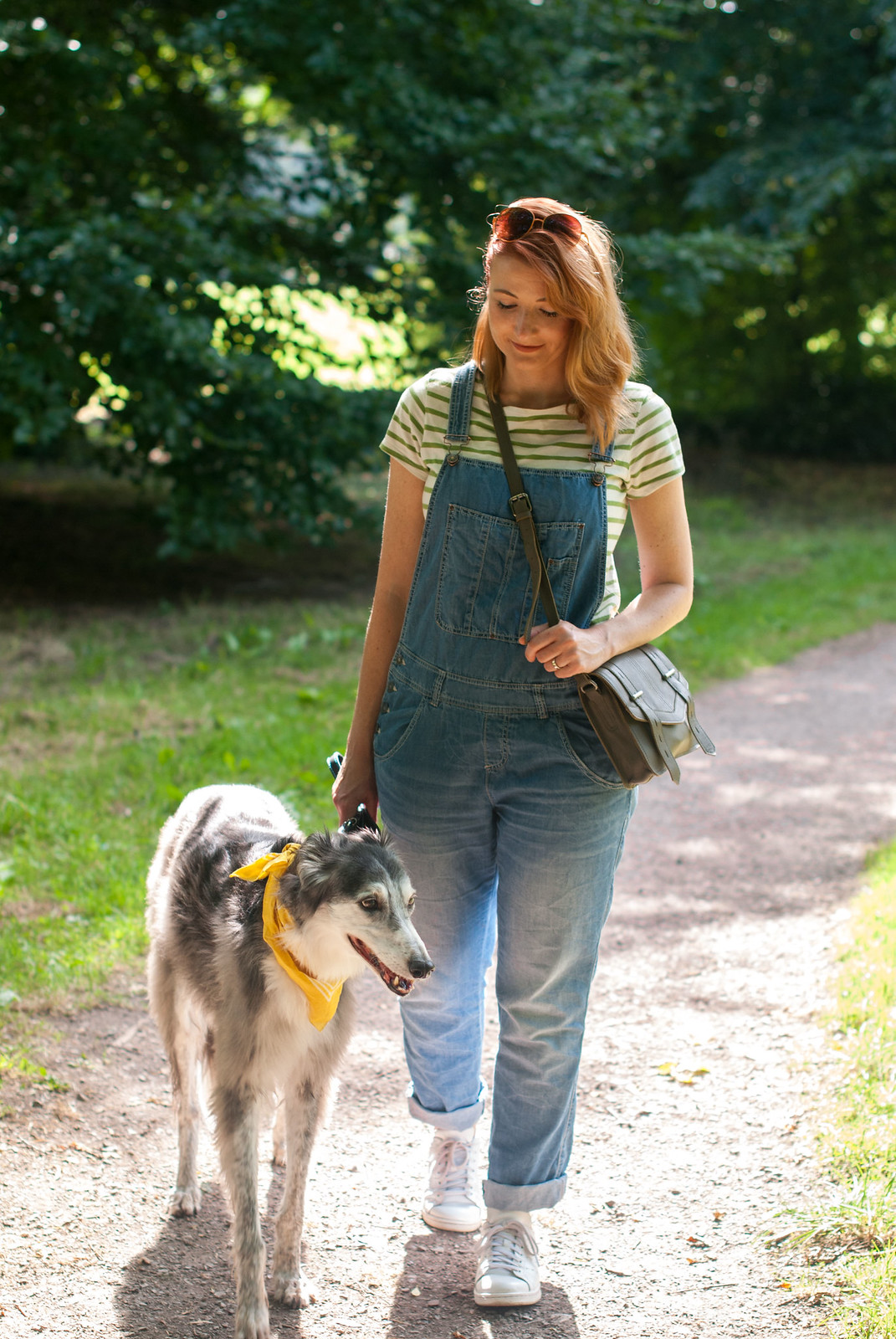 Ways to style a Breton stripe top: Casual weekend wear - with dungarees (overalls) and white Stan Smiths | Not Dressed As Lamb, over 40 style