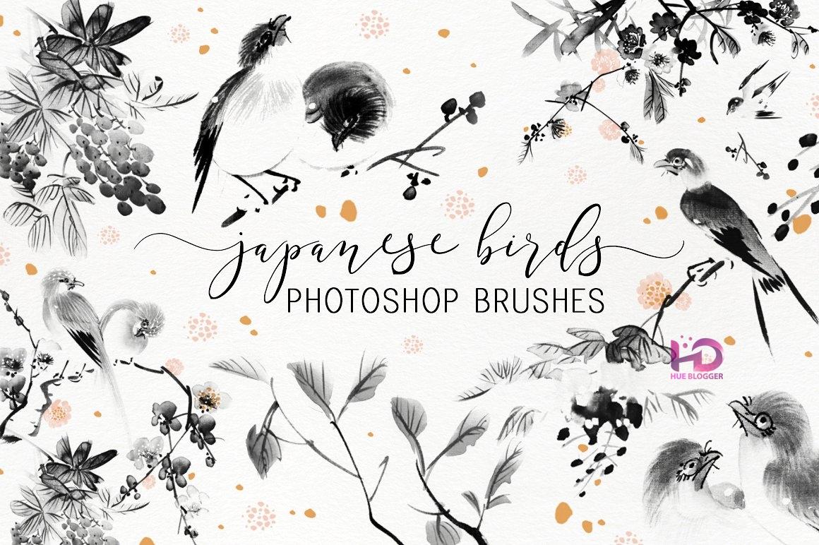 Brush loài chim và họa tiết hoa độc đáo