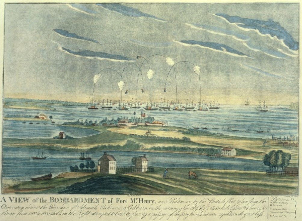 An artist's rendering of the battle at Fort McHenry. The caption reads